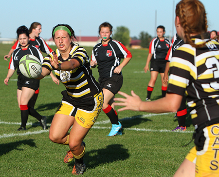 The Wayne State women's rugby team has won five National Small College Rugby Organization (NSCRO) national championships in as many years. The won back-to-back titles in 15-on-15 play in 2012 and 2013, and are the three-time defending champions in 7-on-7 play, winning titles in 2014, 2015 and 2016. (Photo by Michael Carnes)