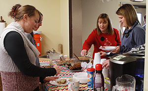 The morning MOPS group that meets at Journey Christian Church always has a nice breakfast spread to give moms a chance to get together and talk about their lives as young parents. (Photo by Michael Carnes)