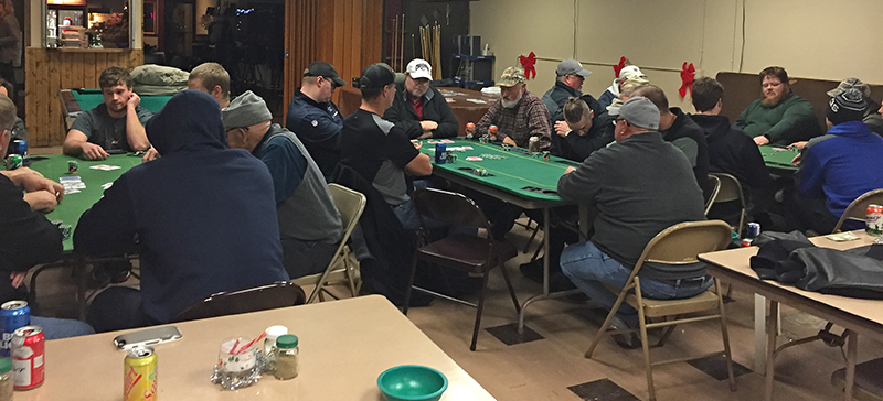 Every Wednesday evening, the Eagles Club in Wayne plays host to a weekly poker league that usually draws more than 20 amateur poker players from around the area. Players play for free through the Free Poker Network. (Photo by Michael Carnes)